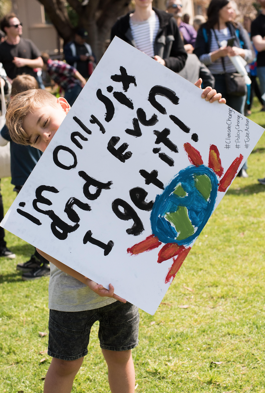 A young protester at the 2019 Climate Strike.